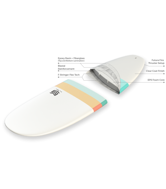 Tabla Surf dura 6'4 Mini Malibu