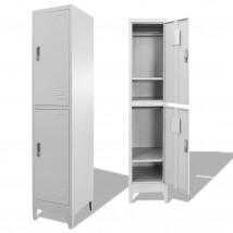 Armario taquilla 2 compartimentos en acero color gris