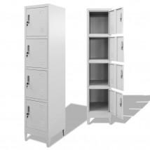 Armario taquilla 4 compartimentos en acero color gris