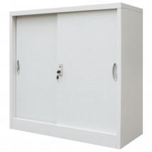 Armario oficina con puertas correderas en metal gris