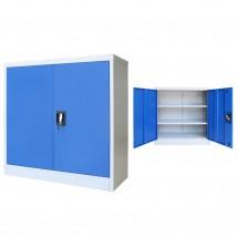 Armario de oficina de metal gris y azul