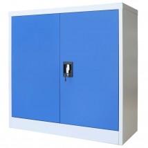 Armario de oficina de metal gris y azul 90