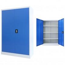 Armario de oficina de metal gris y azul 140