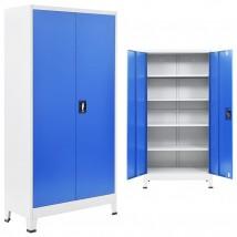 Armario de oficina de metal gris y azul 180