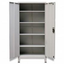 Armario de oficina con 2 puertas acero gris 180