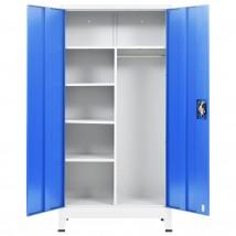 Armario taquilla con 2 puertas metal gris y azul