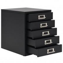 Armario archivador con 5 cajones metal negro