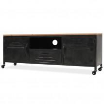 Mueble para la TV de acero negro + superficie de madera