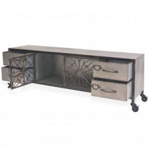 Mueble para la TV de acero galvanizado, color plateado