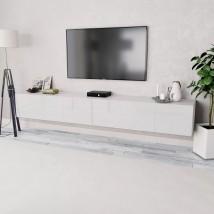 Mueble para TV aglomerado blanco con brillo 2 piezas