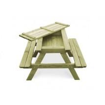 Mesa de picnic con bancos madera pino impregnada