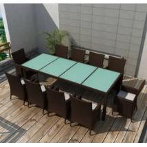Conjunto de jardín 11 piezas de ratán sintético marrón, Modelo Roaster