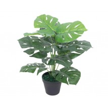 Planta de monstera artificial con maceta verde 45 cms