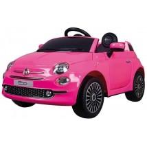 Coche eléctrico Fiat 500 rosa con radio control