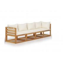 Sofá de jardín de 4 plazas con cojín crema madera de acacia modelo Sevilla
