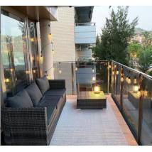 Set de sofás de jardín 3 piezas y cojines ratán sintético negro, modelo Tosca