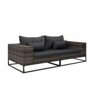 Set de sofás de jardín 2 pzas ratán sintético gris, modelo Marmo