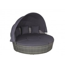 Cama Lounge en ratán gris, modelo Mangoria