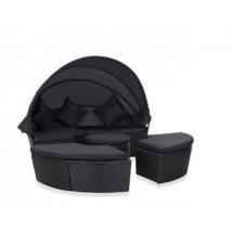 Cama Lounge en ratán negro, modelo Montesol