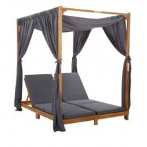 Tumbona doble con cortinas y cojines madera maciza de acacia, Modelo Meceo