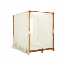 Tumbona doble con cortinas y cojines madera maciza de acacia, Modelo Mirtus