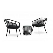 Set de mesa y sillas de jardín 3 piezas ratán sintético negro,Modelo Roteria