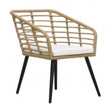 Set mesa y sillas de jardín 3 piezas ratán sintético color roble,Modelo Baroca