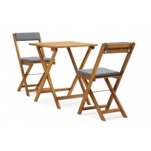 Mesa y sillas bistró plegables 3 piezas y cojines madera maciza,Modelo Lareno