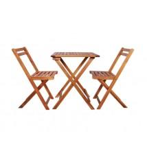 Mesa y sillas bistró plegables 3 piezas madera maciza de acacia,Modelo Barrelo