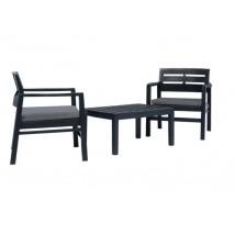 Juego de muebles de jardín 3 piezas plástico gris antracita, Modelo Bansi