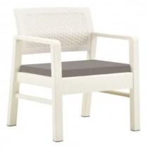 Juego de muebles de jardín 3 piezas plástico blanco,Modelo Tonce