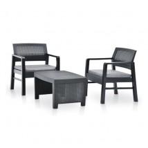 Juego de muebles de jardín 3 piezas plástico gris antracita, Modelo Maskal