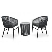 Set muebles de jardín 3 pzas y cojines ratán PVC gris antracita, Modelo Abak