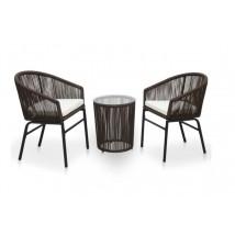 Set muebles de jardín 3 piezas con cojines ratán PVC marrón, Modelo Nastak