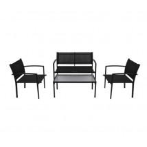 Set de muebles de jardín 4 piezas textilene negro, Modelo Santai