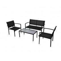 Set de muebles de jardín 4 piezas textilene negro, Modelo Mantal
