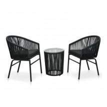 Set muebles de jardín 3 piezas con cojines ratán de PVC negro, Modelo Santai