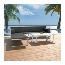 Set de muebles de jardín 4 piezas y cojines aluminio negro, Modelo Sandal