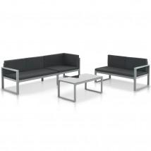 Conjunto de sofás de jardín con cojines aluminio negro 3 piezas, Modelo Rastai