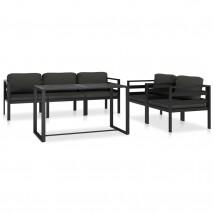 Set muebles de jardín 6 pzas y cojines aluminio gris antracita, Modelo Vorao