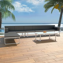 Set de muebles de jardín 5 piezas textilene aluminio negro, Modelo Zoraida