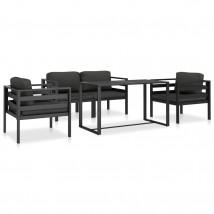 Juego de sofás de jardín 5 pzas y cojines aluminio antracita, Modelo Rapax