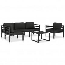 Set muebles de jardín 6 pzas y cojines aluminio gris antracita, Modelo Xanta