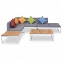 Set de muebles de jardín 4 piezas y cojines aluminio y WPC, Modelo Korai