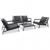 Muebles de jardín 4 pzas y cojines de aluminio gris oscuro, Modelo Korti