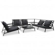 Muebles de jardín 5 pzas y cojines de aluminio gris oscuro, Modelo Santual