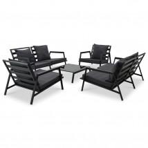 Muebles de jardín 5 pzas y cojines de aluminio gris oscuro, Modelo Sixt