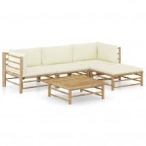 Set de muebles de jardín 5 piezas bambú y cojines blanco crema, Modelo Bembe