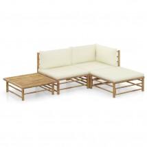 Set de muebles de jardín 4 piezas bambú y cojines blanco crema, Modelo Tucu