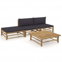 Set de muebles de jardín 4 piezas bambú y cojines gris oscuro, Modelo Neri